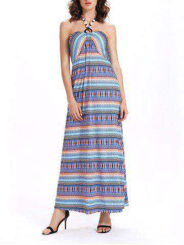 Latest Beaded Bohemian Halter Neck Tribal Print Dress - 2XL COLORMIX Mobile