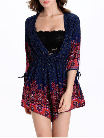 Shop Stylish Tribal Print 3/4 Sleeve Plunging Neck Women's Romper - 2XL BLUE AND RED Mobile