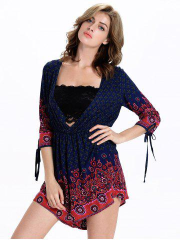 Best Stylish Tribal Print 3/4 Sleeve Plunging Neck Women's Romper - 2XL BLUE AND RED Mobile