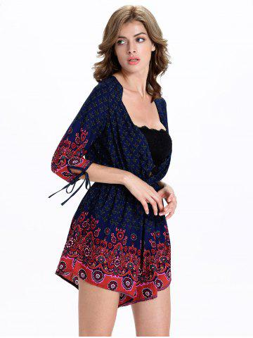 Outfits Stylish Tribal Print 3/4 Sleeve Plunging Neck Women's Romper - 2XL BLUE AND RED Mobile