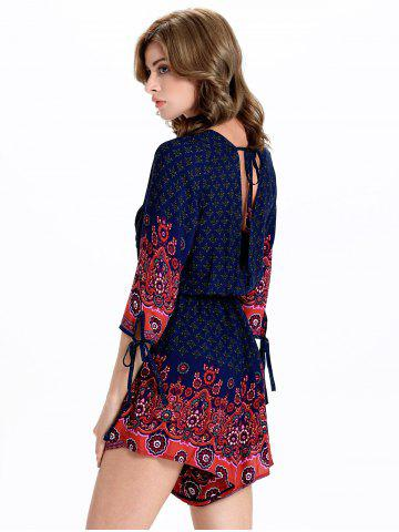 Fancy Stylish Tribal Print 3/4 Sleeve Plunging Neck Women's Romper - 2XL BLUE AND RED Mobile