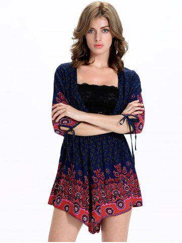 Hot Stylish Tribal Print 3/4 Sleeve Plunging Neck Women's Romper - 2XL BLUE AND RED Mobile