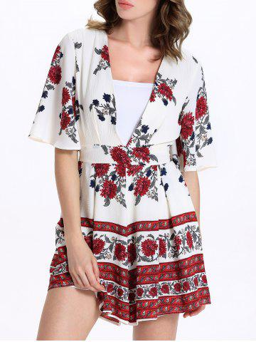 Outfits Short Sleeve Plunging Neck Floral Short Romper