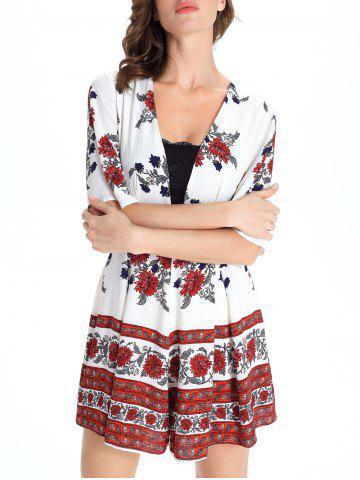 Chic Short Sleeve Plunging Neck Floral Short Romper - M WHITE Mobile