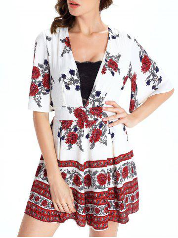 Latest Short Sleeve Plunging Neck Floral Short Romper - M WHITE Mobile