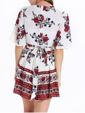 Store Short Sleeve Plunging Neck Floral Short Romper - M WHITE Mobile