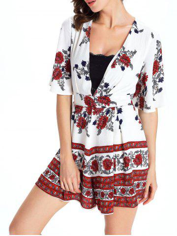 Outfits Short Sleeve Plunging Neck Floral Short Romper - M WHITE Mobile