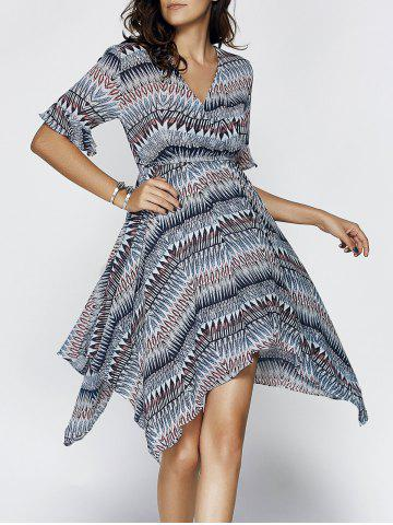 New Chic Women's V Neck Flare Sleeve Print Asymmetrical Dress