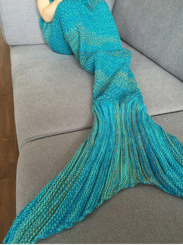 Chic Fashion Stripe Knitted Mermaid Tail Design Blanket For Kids - COLORMIX  Mobile