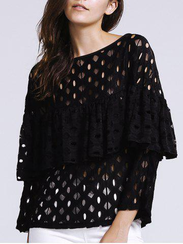 Trendy Women's Chic Hollow Out Laced Jewel Neck Blouse