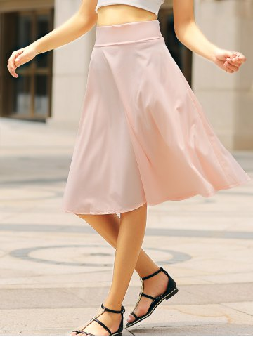 Fashion High Waisted A Line Midi Skirt PINK S