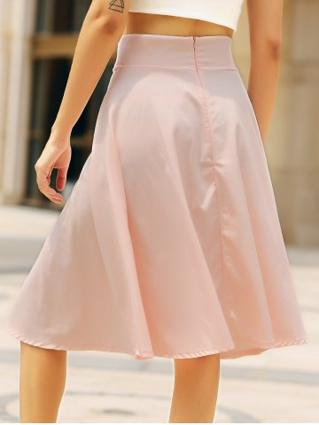 Unique High Waisted A Line Midi Skirt - L PINK Mobile