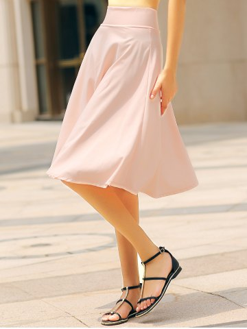 Buy High Waisted A Line Midi Skirt - L PINK Mobile