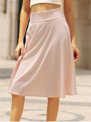 Trendy High Waisted A Line Midi Skirt - L PINK Mobile