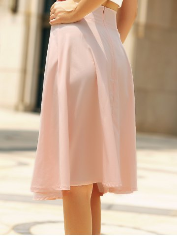Online High Waisted A Line Midi Skirt - L PINK Mobile