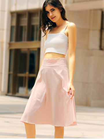 Fancy High Waisted A Line Midi Skirt - L PINK Mobile