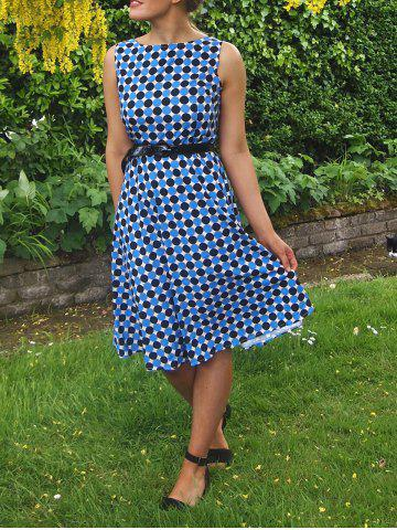Affordable Vintage Boat Neck Polka Dot Print Sleeveless Dress For Women BLUE AND BLACK S