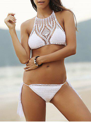 Fancy Halter Hollow Out Crochet Bathing Suit WHITE S
