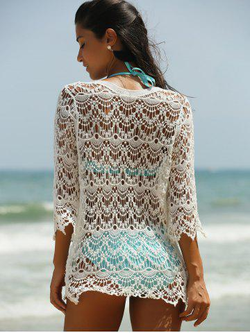 Online Hollow Out Lace Swimsuit Cover-Ups - ONE SIZE(FIT SIZE XS TO M) WHITE Mobile