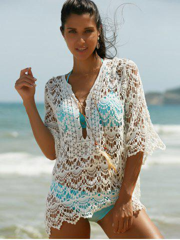 Shop Hollow Out Lace Swimsuit Cover-Ups - ONE SIZE(FIT SIZE XS TO M) WHITE Mobile