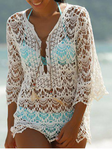 Trendy Hollow Out Lace Swimsuit Cover-Ups - ONE SIZE(FIT SIZE XS TO M) WHITE Mobile