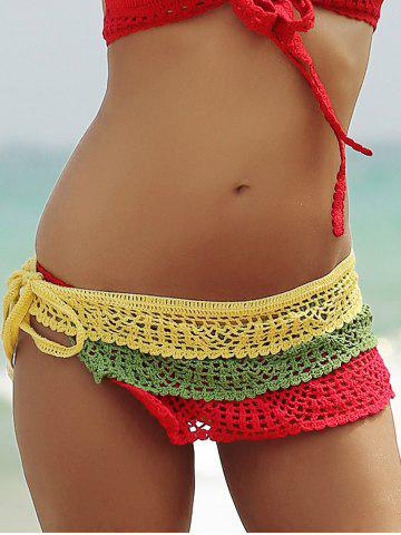 Unique Color Block Layered Crochet Skirted Bathing Suit Bottom - L COLORFUL Mobile