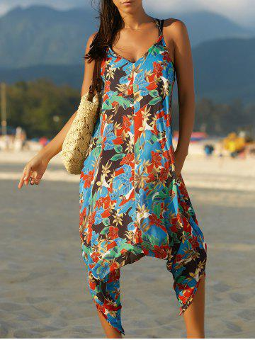 Sale Spaghetti Strap Pocket Design Floral Jumpsuit COLORMIX L