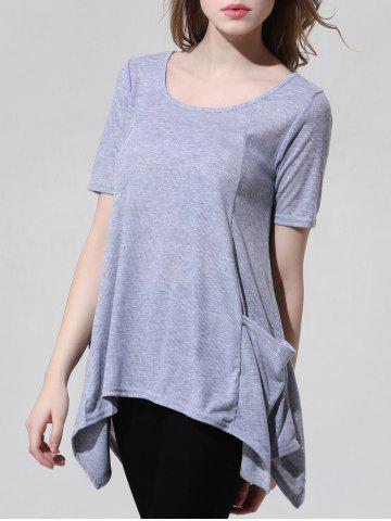 Fashionable Scoop Neck Asymmetric T-Shirt For Women - GRAY XL