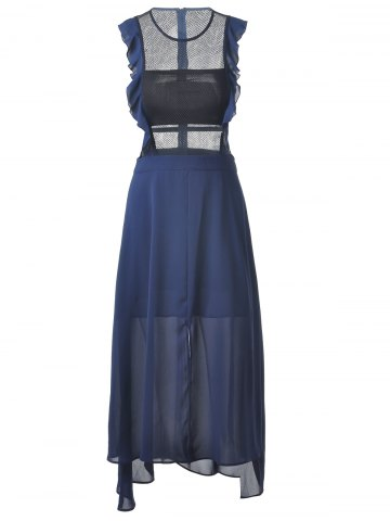 Best Fashionable Fitted Scoop Neck  Midi Calf Dress For Women DEEP BLUE L