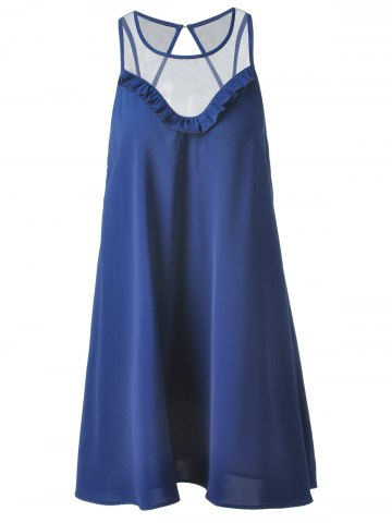 Affordable Fashionable Loose-Fitting Scoop Neck Mini Dress For Women DEEP BLUE L