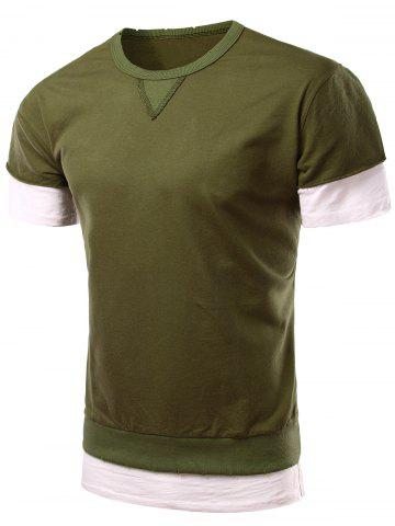 Hot Personality Round Neck Short Sleeve Fake Twinset T-Shirt For Men - XL GREEN Mobile