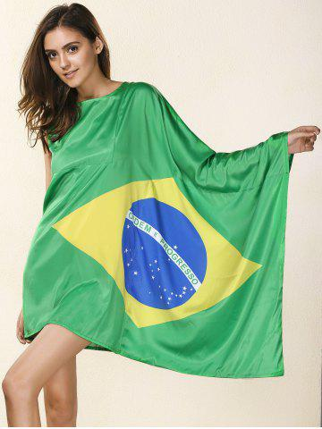 Chic Novelty Round Neck Asymmetrical Brazil Flag Print Dress For Women - M GREEN Mobile