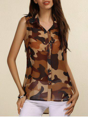 Fancy Fashionable Shirt Collar Sleeveless Camouflage Print See-Through Top For Women