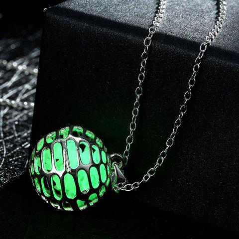 Unique Luminescent Hollow Out Ball Faux Gem Necklace NEON BRIGHT GREEN