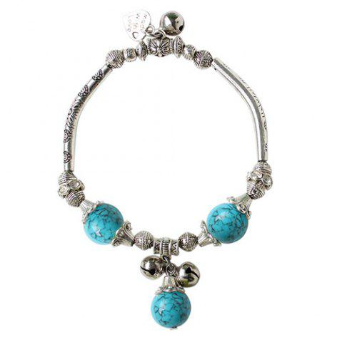 Best Ancient Style Semi Precious Stone Bead Alloy Charm Bracelet - LAKE BLUE  Mobile