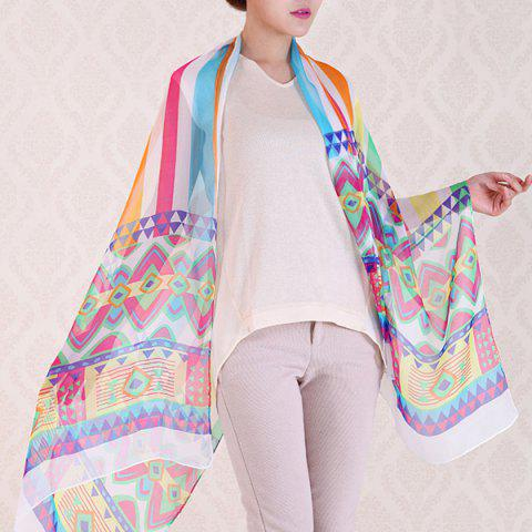 Best Chic Bohemian Geometry Pattern Colorful Ethnic Chiffon Scarf For Women