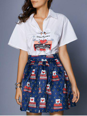 Outfits Chic Women's Bat Sleeve Shirt Collar Blouse + Print Skirt
