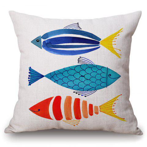 New Fashionable Cartoon Watercolor Fish Pattern Square Shape Pillowcase (Without Pillow Inner)