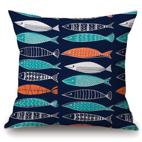 Best Fashionable Geometric Fish Pattern Square Shape Pillowcase (Without Pillow Inner)