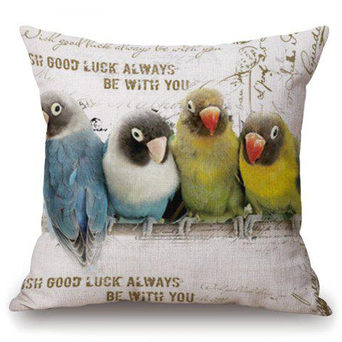 Latest Fashionable Four Parrots Pattern Square Shape Flax Pillowcase (Without Pillow Inner) COLORMIX