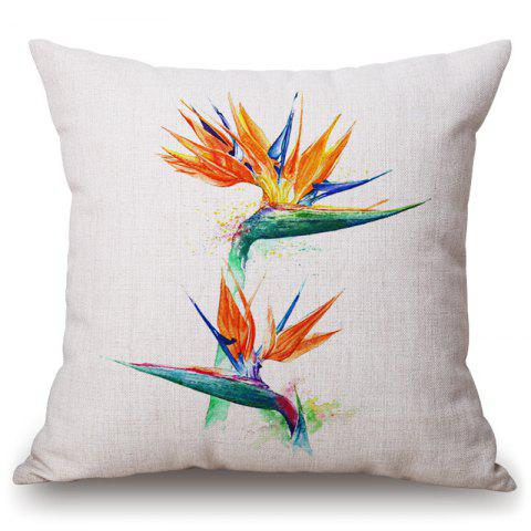 Hot Fashionable Tropical Plants Pattern Square Shape Flax Pillowcase (Without Pillow Inner)