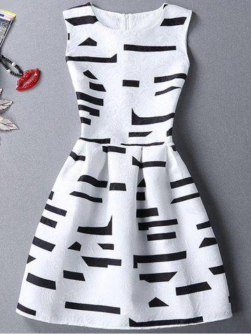 Store Geometric Print Mini Flared Dress - M WHITE Mobile