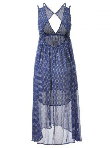 Fashion Plunging Neck Empire Waist Midi Boho Dress - S BLUE AND WHITE Mobile