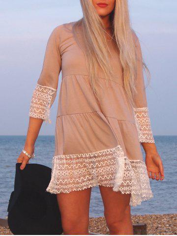 Unique Casual U-Neck 3/4 Sleeve Loose-Fitting Lace Splicing  Women's Dress
