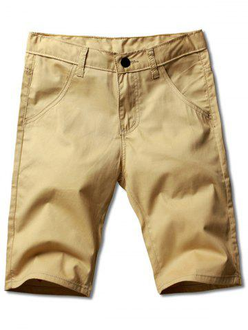 Shops Plus Size Straight Legs Zip Fly Solid Color Shorts For Men