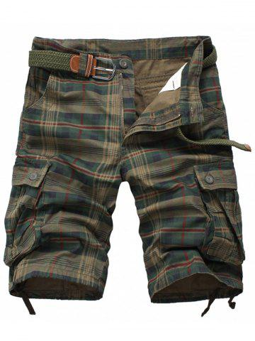 Outfit Zipper Fly Flap Pockets Plaid Cargo Shorts