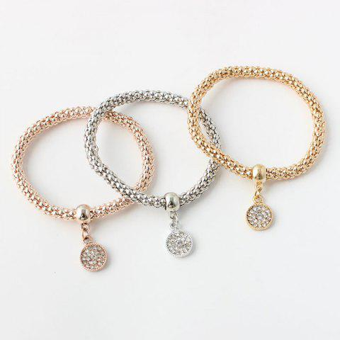 Chic Chic Multilayer Rhinestone Round Charm Bracelet For Women COLORMIX