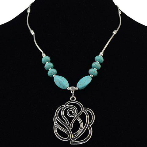 Online Vintage Faux Turquoise Hollow Out Rose Necklace