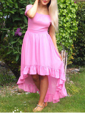 Outfit Noble Solid Color Off-The-Shoulder Ruffled Hem Prom Dress For Women
