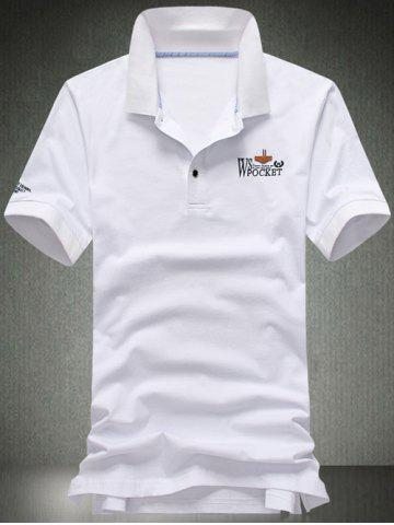 Chic Turn-Down Collar Plus Size Letters Applique Short Sleeve Polo T-Shirt For Men WHITE 3XL
